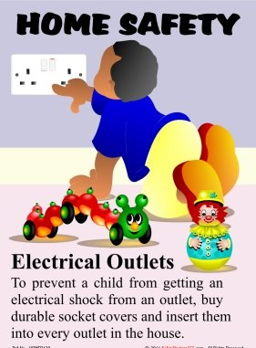 Examples of electrical safety posters for Safety around the house